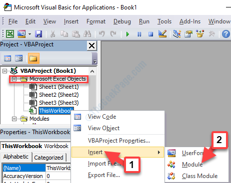 Vba Editor Project Bar Microsoft Excel Objects Thisworkbook Right Click Insert Module
