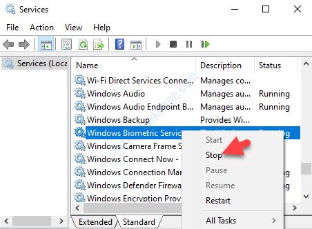 Windows Biometric Service Right Click Stop