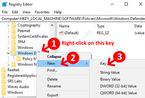 Windows Defender Right Click New Key
