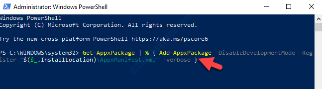 Windows Powershell (admin) Run Command To Re Register Action Center Enter