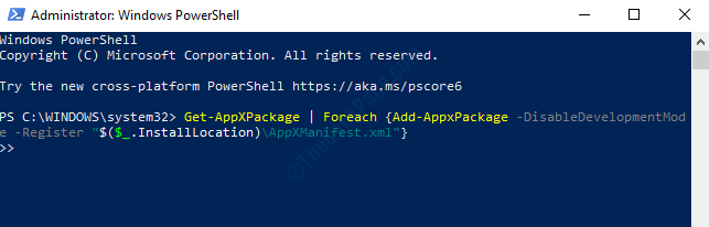 Windows Powershell (admin) Run Command To Re Register All Apps Enter