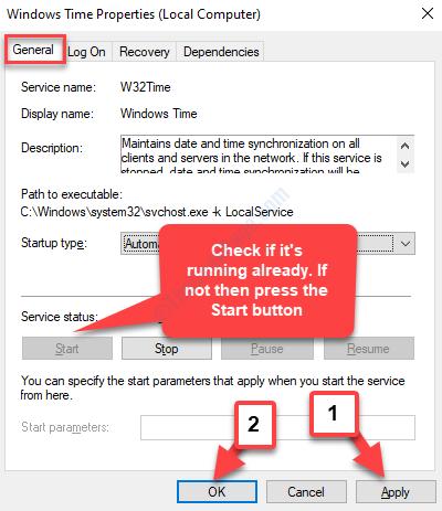 Windows Time Properties General Tab Service Status Running If Not Start Apply Ok