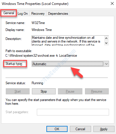 Windows Time Properties General Tab Startup Type Automatic