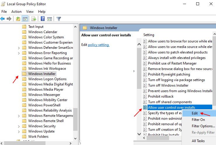 Allow User Control Install Min
