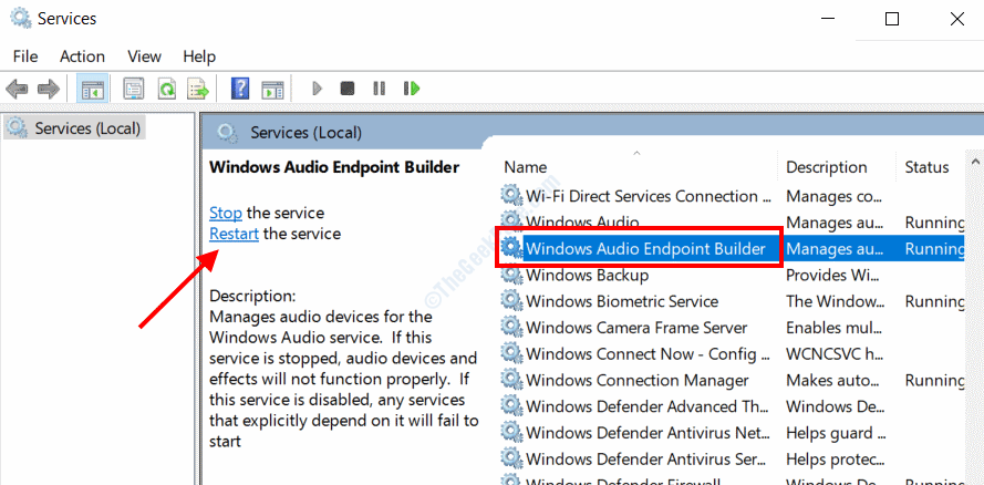 Audio Service Restart