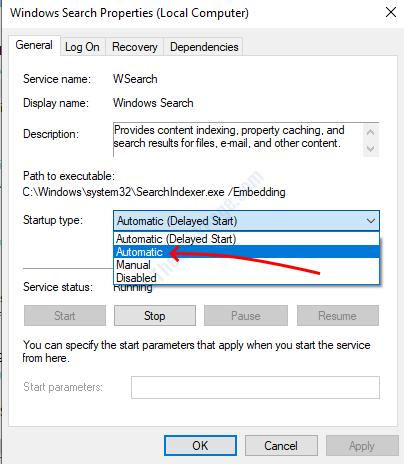 Automatic Windows Search Service