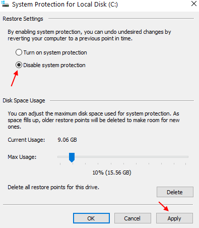 Disable System Protection Min