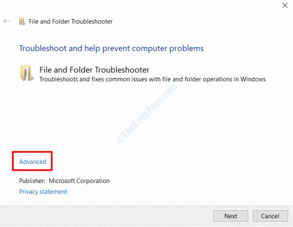 File Folder Troubleshooter Advanced