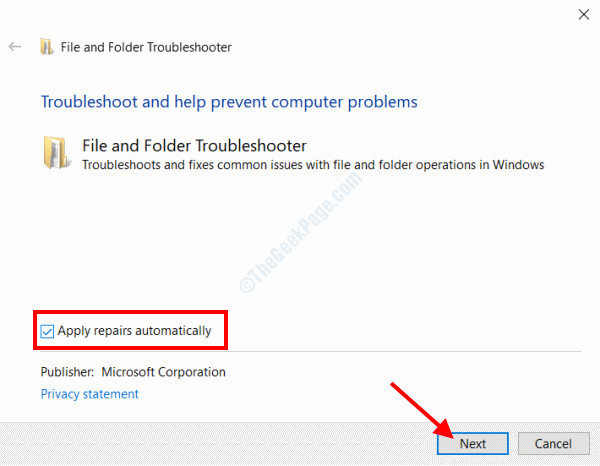 File Folder Troubleshooter Apply Repairs