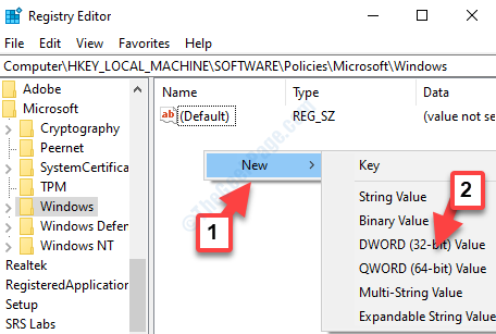 Right Side Empty Area Right Click New Dword (32 Bit) Value