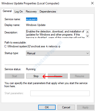 Stop Windows Update Service