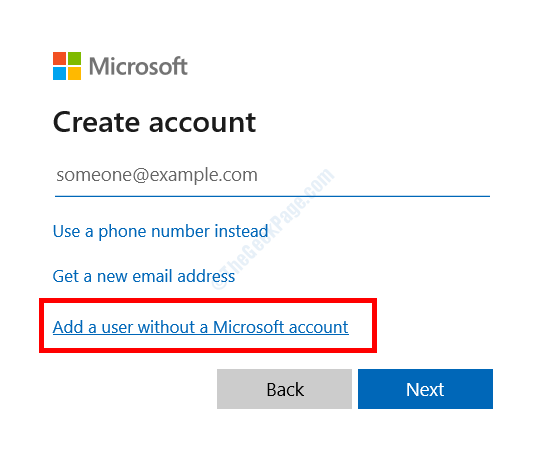 User Without Miscrosoft Account