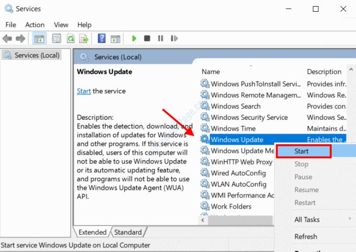 Windows Update Start