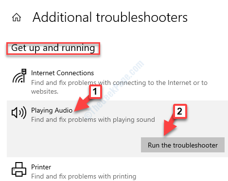 Additional Troubleshooters Get Up And Running Playing Audio Run The Troubleshooter