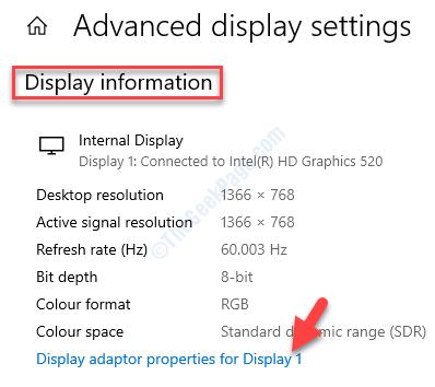 Advanced Display Settings Display Information Display Adapter Properties For Display 1