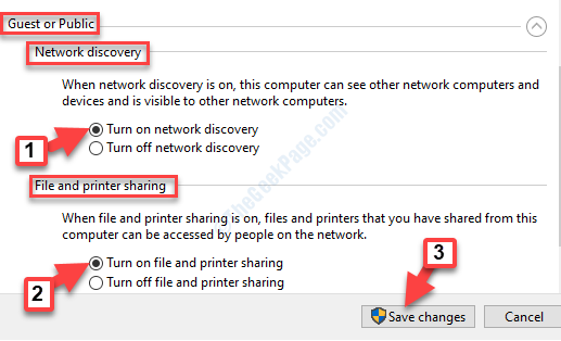 Advanced Sharing Settings Gues Or Public Enable Turn On Network Discovery Turn On File And Printer Sharing
