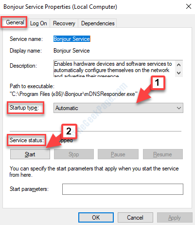 Bonjour Service Properties General Startup Type Automatic Service Status Start