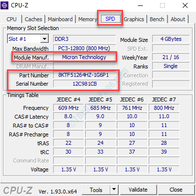 Cpu Z Spd Tab Check Brand Model Part And Serial Number