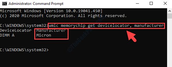 Command Prompt (admin) Execute Command For Memory Manufacturer Enter
