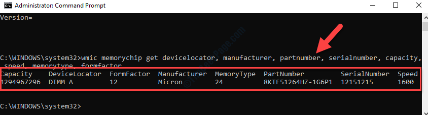 Command Prompt (admin) Execute Command For Specific Memory Details Enter