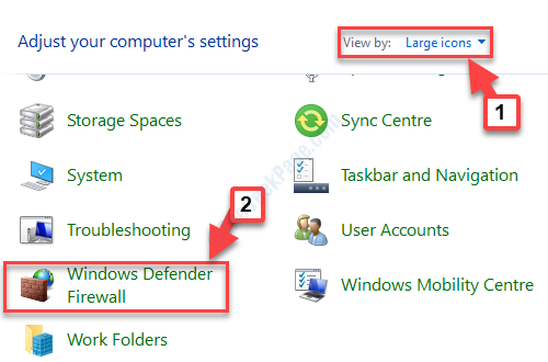 Control Panel Home View By Large Icons Windows Defender Firewall