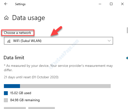 Data Usage Choose A Network Select The Desired Network