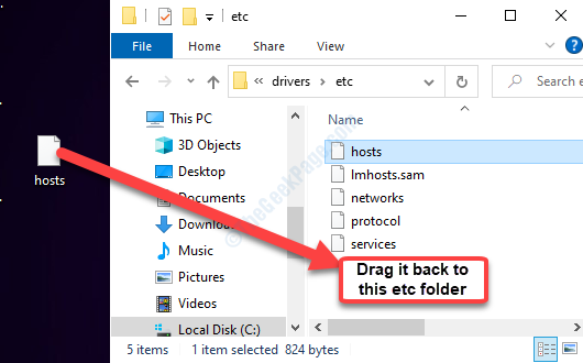 Desktop Hosts File Drag It Back To The Etc Folder In File Explorer