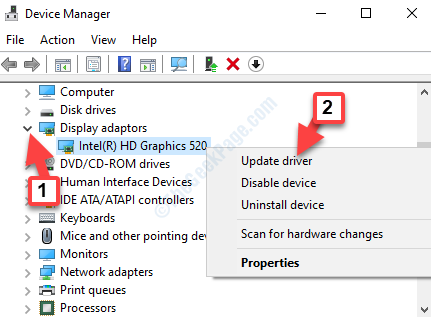 Device Manager Display Adaptors Right Click Update Driver
