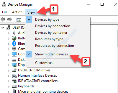 Device Manager View Tab Show Hidden Devices
