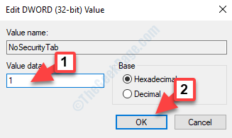 Edit Dword (32 Bit) Value Value Data 1 Ok