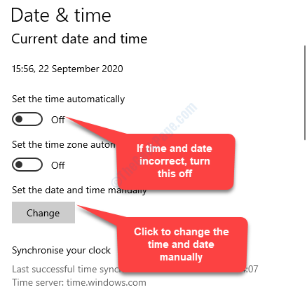 If Date & Time Incorrect Set Time Automatically Turn Off Set The Date And Time Manually Change
