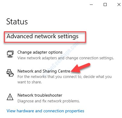 Network & Internet Status Advanced Network Settings Network And Sharing Centre