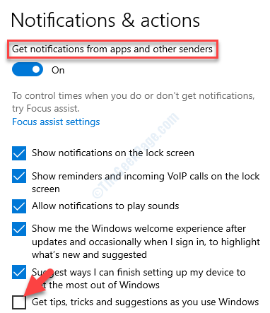 Notifications & Actions Get Tips, Tricks And Suggestions As You Use Windows Uncheck