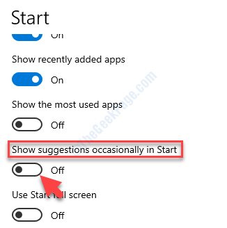 Personalization Start Right Side Show Suggestions Occasionally In Start Turn Off