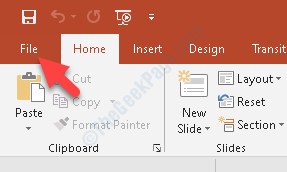 Powerpoint Presentation File Tab