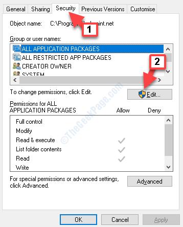 Properties Security Tab Edit