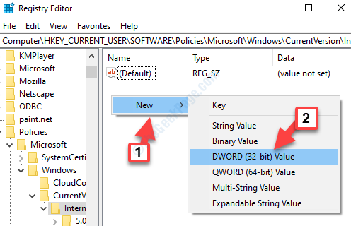 Registry Editor Internet Settings Right Side Right Click New Dword Value