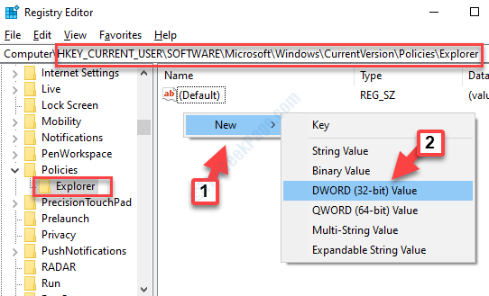 Registry Editor Navigate To Path Explorer Right Side Right Click New Dword (32 Bit) Value