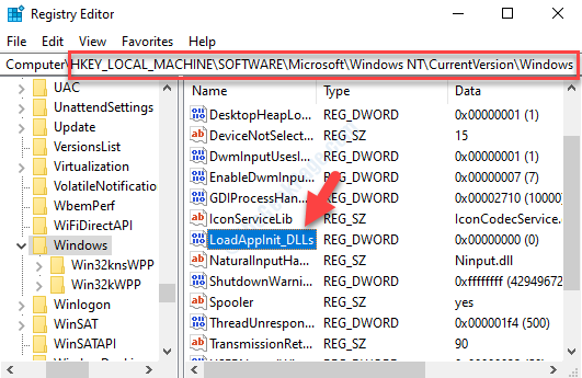 Registry Editor Navigate To Path Right Side Loadappinit Dlls