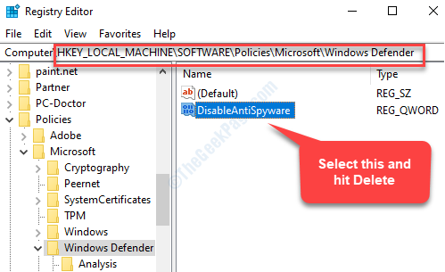 Registry Editor Navigate To Path Select Disableantispyware Delete
