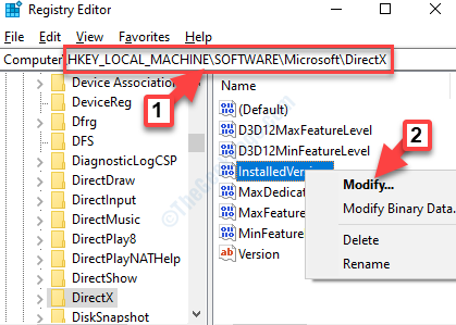 Registry Editor Navigate To Path Directx Installedversion Right Click Modify