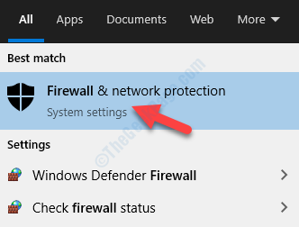 Result Left Click Firewall & Network Protection
