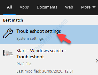 Result Left Click Troubleshoot Settings