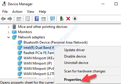 Select Wifi Adapter Right Click Properties
