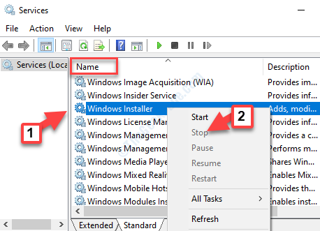 Services Name Windows Installer Right Click Stop