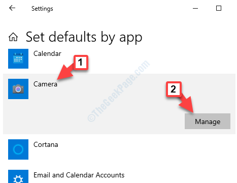 Set Defaults By App Section Camera Manage