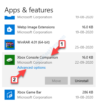 Settings Apps Apps & Features Xbox Console Companion Advanced Options