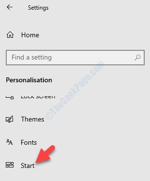 Settings Personalization Start