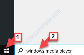 Start Windows Search Windows Media Player