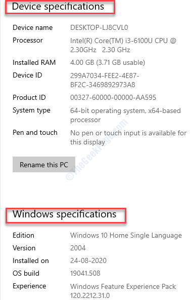 System Settings About Device Specfications Windows Specificatiion